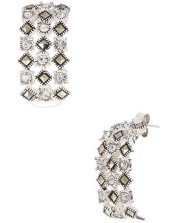 Sterling Silver And Marcasite Glitz Drop Earrings