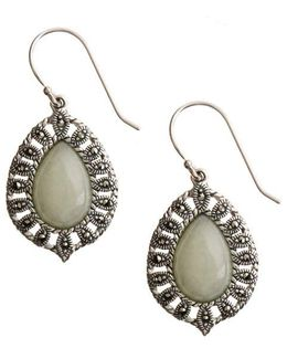 Sterling Silver And Marcasite Jade Drop Earrings