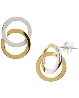 Sterling Silver Interlocking Hoop Stud Earrings