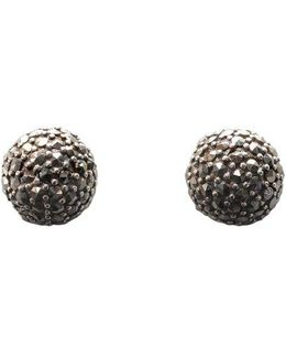 Sterling Silver And Marcasite Fireball Button Earrings