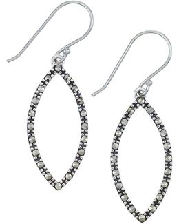 Sterling Silver And Marcasite Open Marquise Drop Earrings