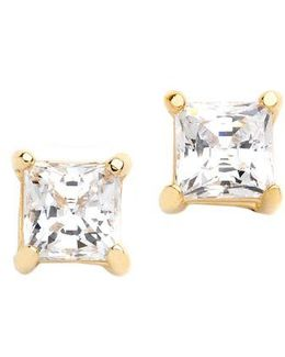 18k Gold Over Sterling Silver And Cubic Zirconia Stud Earrings