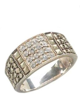Sterling Silver And Marcasite Crystal Band Ring