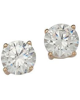 18 Kt Gold Plated Solitaire Cubic Zirconia Stud Earrings