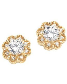 18k Gold Over Sterling Silver And Cubic Zirconia Earrings