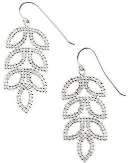 Sterling Silver Mesh Leaf Drop Earrings