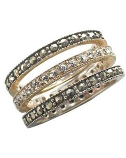 Sterling Silver And Marcasite Crystal Stackable Ring