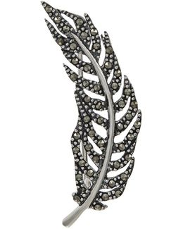 Marcasite Feather Brooch
