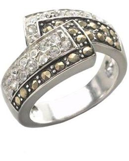 Sterling Silver And Marcasite Crystal Bypass Ring
