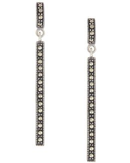 Sterling Silver And Marcasite Linear Earrings