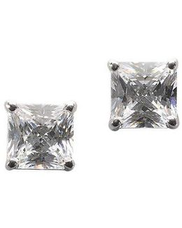 Platinum Plated Sterling Silver Square Signity Cubic Zirconia Basket Set Stud Earrings