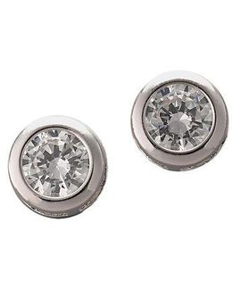 Platinum Plated Sterling Silver Bezel Set Signity Cubic Zirconia Stud Earrings