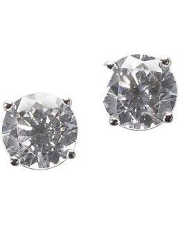 Platinum Plated Sterling Silver Round Signity Cubic Zirconia Basket Set Stud Earrings