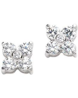 Platinum Plated Flower Shape Earrings