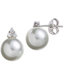 Sterling Silver And Cubic Zirconia Pearl Earrings