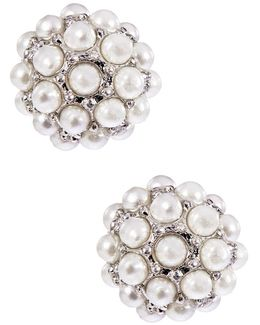 Pearl Stone Stud Earrings