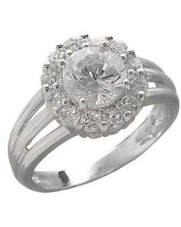 Sterling Silver And Cubic Zirconia Flower Ring