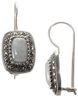 Sterling Silver And Marcasite Rectangle Earrings