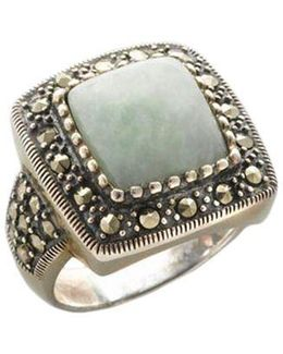 Sterling Silver And Marcasite Square Jade Ring