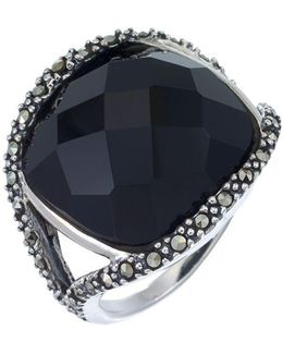 Sterling Silver And Onyx Dome Ring