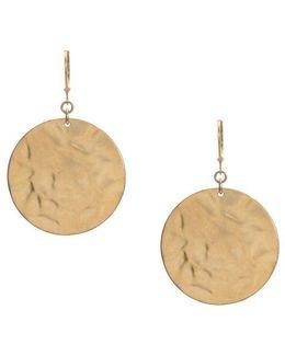 Goldtone Hammered Circle Drop Earrings