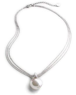 18mm White Coin Pearl & Sterling Silver Triple-chain Pendant Necklace
