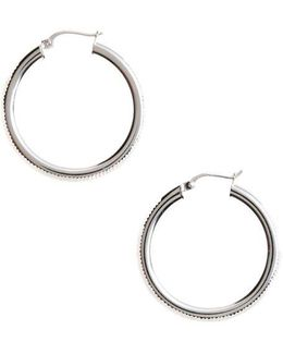 Sterling Silver Ribbed Hoop Earrings