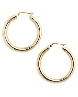 18k Gold Over Sterling Silver Ribbed Hoop Earrings