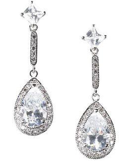 Sterling Silver Cubic Zirconia Linear Teardrop Earrings