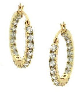 Gold Over Sterling Silver Hoop Earrings With Cubic Zirconia Embellishments