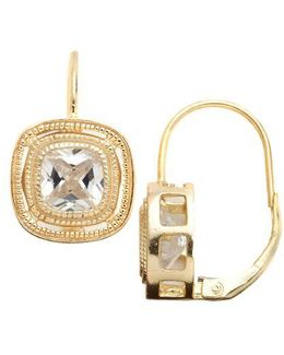 18 Kt Gold Over Sterling Silver Bezel Set Cubic Zirconia Drop Earrings