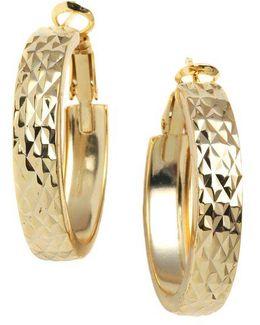 18 Kt Gold Plated Engraved Wide Hoop Earrings