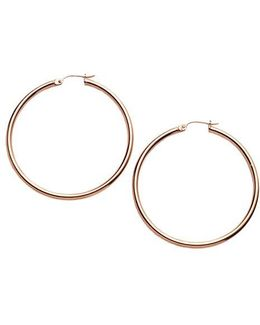 18 Kt Gold Over Sterling Silver Medium Hoop Earrings