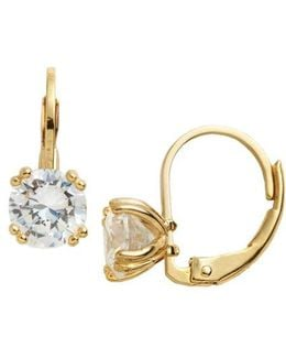 18 Kt Gold Over Sterling Silver And Cubic Zirconia Solitaire Drop Earrings