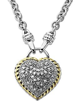 Diamond Heart Pendant In Sterling Silver With 14 Kt. Yellow Gold 0.25 Ct. T.w.