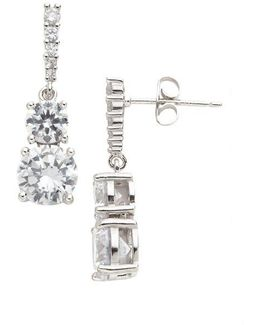 Sterling Silver And Cubic Zirconia Double-drop Earrings