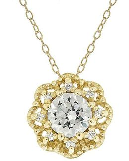 Cubic Zirconia Round Pavé Pendant Flower Necklace