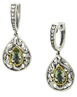 Green Amethyst, Sterling Silver And 18k Yellow Gold Drop Earrings