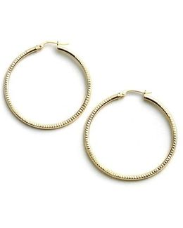 18-kt Gold Over Sterling Silver Ribbed Hoop Earrings