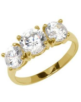 18kt Gold Over Sterling Silver And Cubic Zirconia Ring