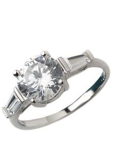 Sterling Silver And Cubic Zirconia Three-stone Ring