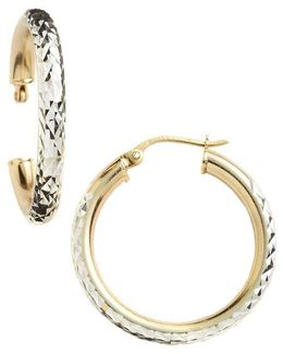 18 Kt Gold Over Sterling Silver Textured Hoop Earrings