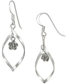 Sterling Silver Sculptural Hoop Pendant Earrings With Floral Embellishments