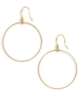 18k Gold Over Sterling Silver Textured Hoop Drop Earrings