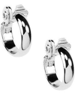 Silvertone Clip-on Hoop Earrings