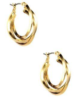 Gold Plated Three Ring Hoop Earrings