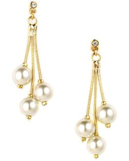 Goldtone Drop Earrings With Faux Pearl Accents