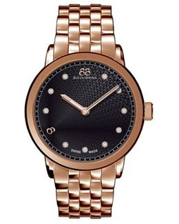Ladies' Double 8 Origin Rose Gold Diamond Watch With Black Dial