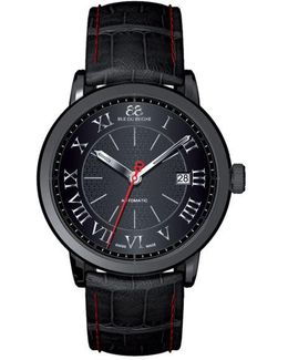 Men's Double 8 Origin Leather Watch With Black Dial
