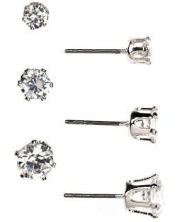 Silvertone And Cubic Zirconia Stud Earring Set